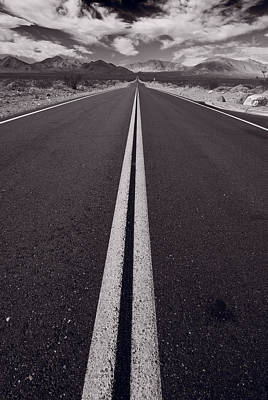 Desert Road Trip B W Poster
