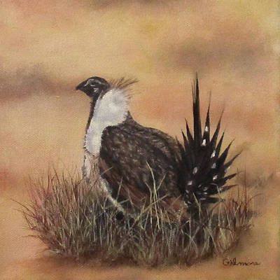 Poster featuring the painting Desert Sage Grouse by Roseann Gilmore