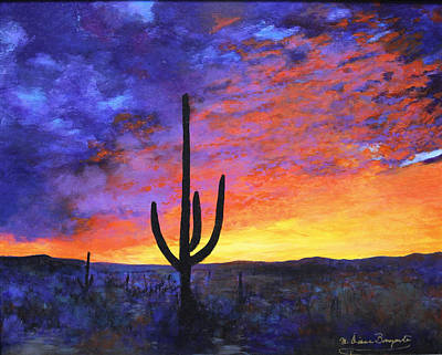 Desert Sunset 4 Poster by M Diane Bonaparte