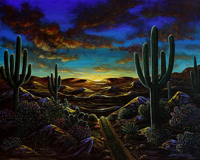 Poster featuring the painting Desert Trail by Lance Headlee