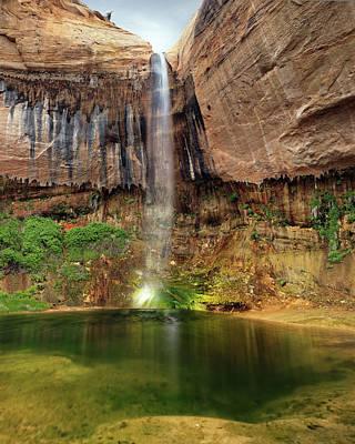 Desert Waterfall Oasis Poster by Leland D Howard