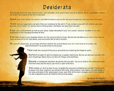 Poster featuring the mixed media Desiderata - Child Of The Universe by Mark Tisdale