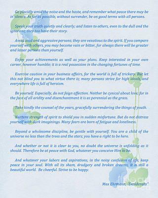 Desiderata In Blue Poster by Olga Hamilton