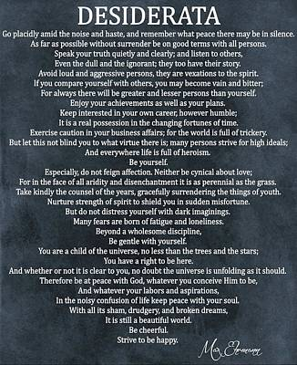 Desiderata Poem Cool Blue Poster by Dan Sproul