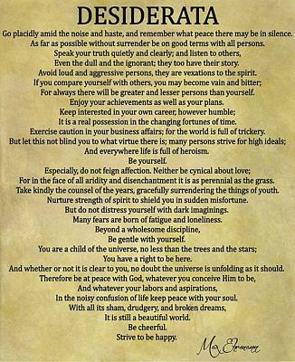 Desiderata Poem Poster by Dan Sproul