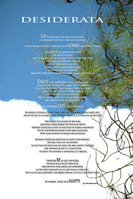 Desiderata Poem Over Sky With Clouds And Tree Branches Poster