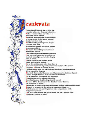 Desiderata Poster by Sibby S