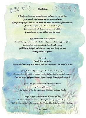 Desiderata Watercolor Floral Blue Poster by Terry DeLuco
