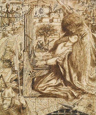 Design For Moxon's Tennyson - Saint Cecilia Poster by Dante Gabriel Rossetti
