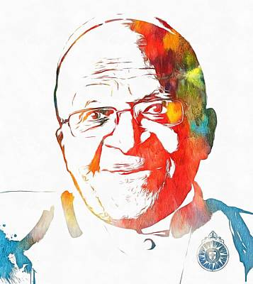 Desmond Tutu Watercolor Poster by Dan Sproul