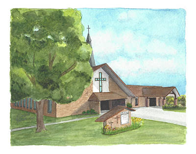 Poster featuring the painting De Soto Baptist Church by Betsy Hackett