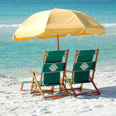 Destin Florida Beach Chairs And Yellow Umbrella Square Format Poster by Shawn O'Brien