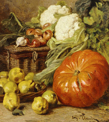 Detail Of A Still Life With A Basket, Pears, Onions, Cauliflowers, Cabbages, Garlic And A Pumpkin Poster