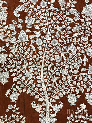 Detail Of A Vintage Botanical Pattern Poster by Anglo Indian School
