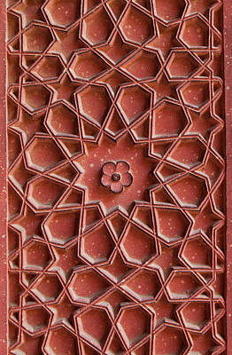 Detail Of Carvings On Wall In Agra Fort Poster by Inti St. Clair