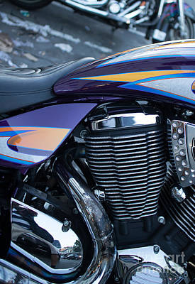 Detail Of Shiny Chrome Cylinder And Engine On Cruiser Motorcycle Poster by Jason Rosette