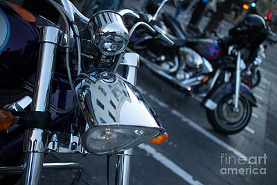 Detail Of Shiny Chrome Headlight On Cruiser Style Motorcycle Poster
