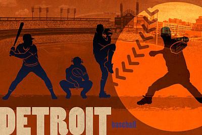 Detroit Baseball Team City Sports Art Poster by Design Turnpike