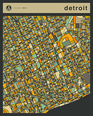 Detroit City Map Poster by Jazzberry Blue