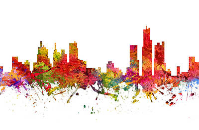 Detroit Cityscape 08 Poster by Aged Pixel
