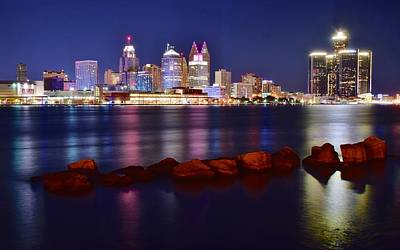 Detroit Lights 2 Poster by Frozen in Time Fine Art Photography