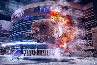 Poster featuring the photograph Detroit Lions At Ford Field 2 by Nicholas Grunas