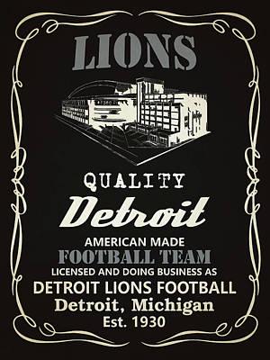 Detroit Lions Whiskey Poster by Joe Hamilton