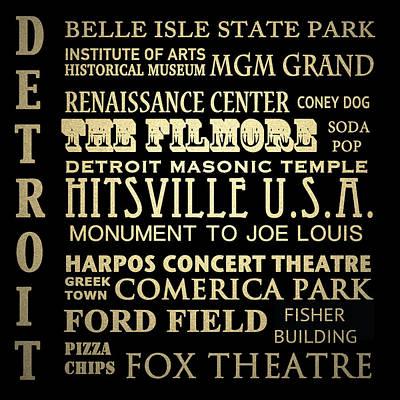 Detroit Michigan Famous Landmarks Poster