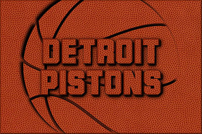 Detroit Pistons Leather Art Poster