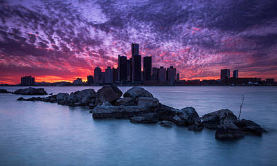 Detroit Skyline Clouds Poster