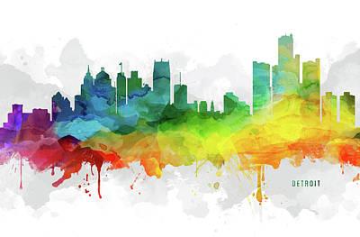 Detroit Skyline Mmr-usmide05 Poster