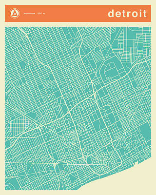 Detroit Street Map Poster