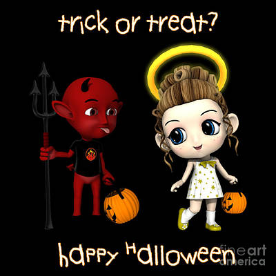 Devil Or Angel Trick Or Treat Poster by Methune Hively