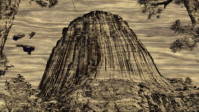Devils Tower Woodburning Poster by John M Bailey