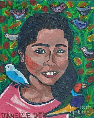 Poster featuring the painting Devoted To Birds by Janelle Dey