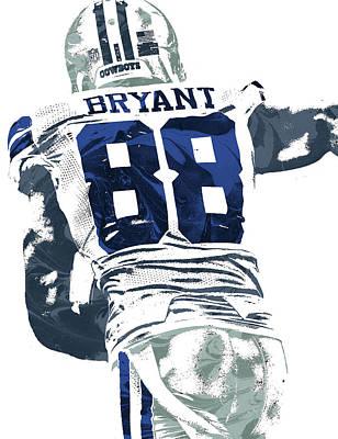 Poster featuring the mixed media Dex Bryant Dallas Cowboys Pixel Art 6 by Joe Hamilton