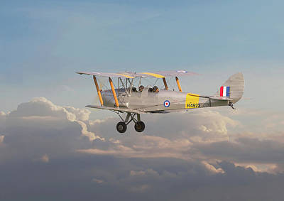 Poster featuring the digital art Dh Tiger Moth - 'first Steps' by Pat Speirs