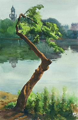 Poster featuring the painting Dhanmondi Lake 03 by Helal Uddin