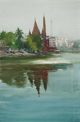 Poster featuring the painting Dhanmondi Lake 04 by Helal Uddin