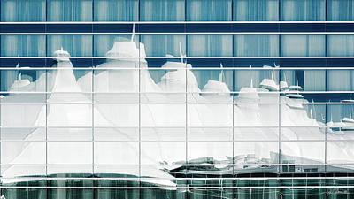 Poster featuring the photograph Dia Hotel Reflection by Joe Bonita