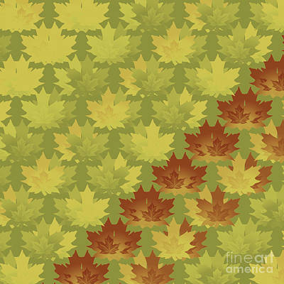 Diagonal Leaf Pattern Poster by Methune Hively