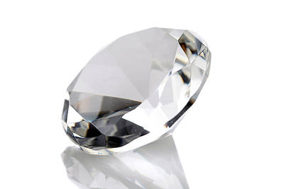 Diamond Isolated On White Poster by Michael Ledray