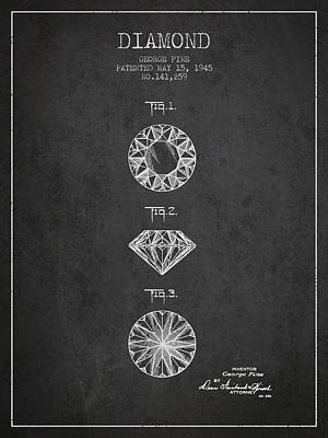 Diamond Patent From 1945 - Charcoal Poster by Aged Pixel