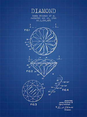 Diamond Patent From 1966- Blueprint Poster by Aged Pixel