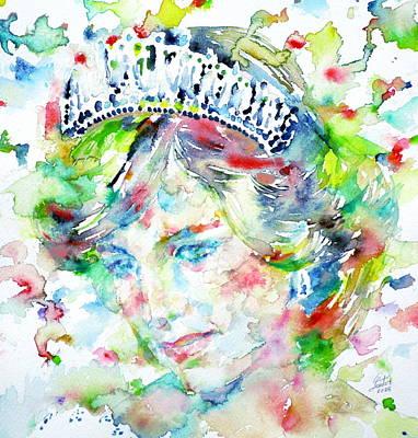 Diana - Princess Of Wales - Watercolor Portrait.1 Poster by Fabrizio Cassetta