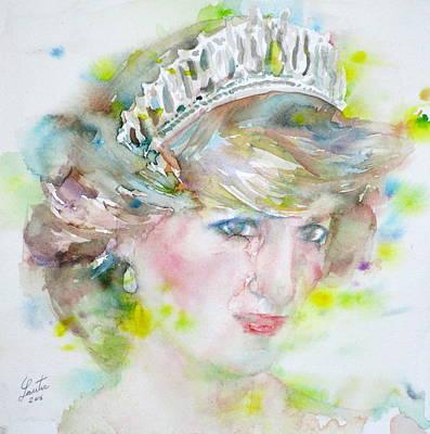 Diana - Princess Of Wales - Watercolor Portrait.2 Poster by Fabrizio Cassetta