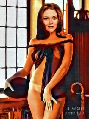 Diana Rigg, Vintage Actress. Digital Art By Mb Poster by Mary Bassett