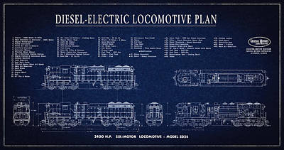 Diesel-electric Locomotive Plan C. 1960 Poster by Daniel Hagerman