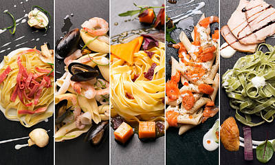 Different Photos Of Italian Pasta Poster
