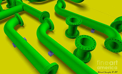 Diffuse Pipework On Yellow Amcg20170128 30 X 18 Poster by Michael Geraghty